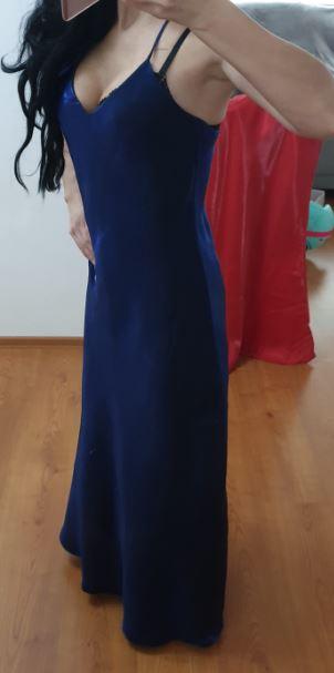 parížske modre dlhe šaty, veľk M alebo S/M - Obrázok č. 2