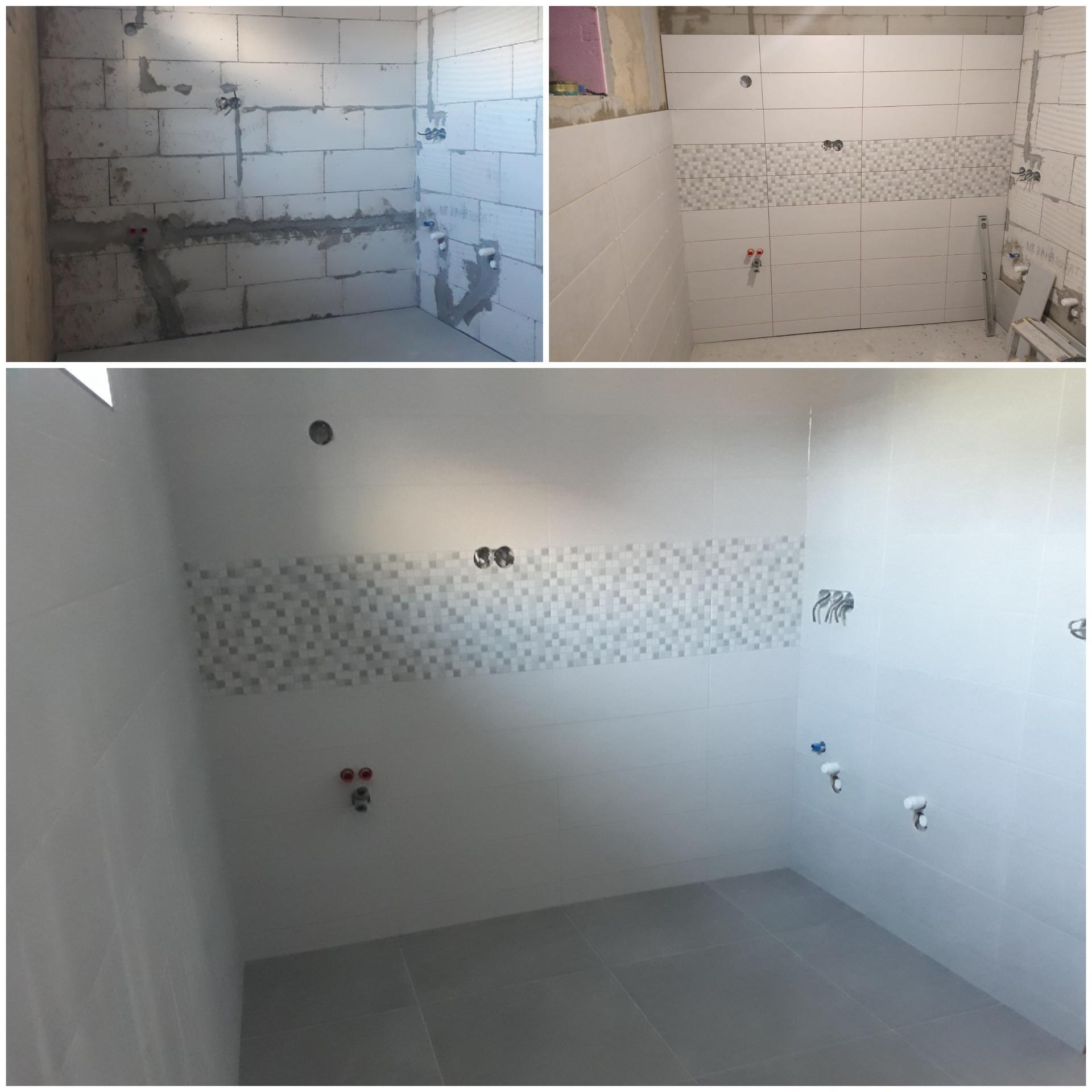 Koupelna přízemí - Hotovo - pohled na stěnu, kde bude umyvadlo se zrcadlem