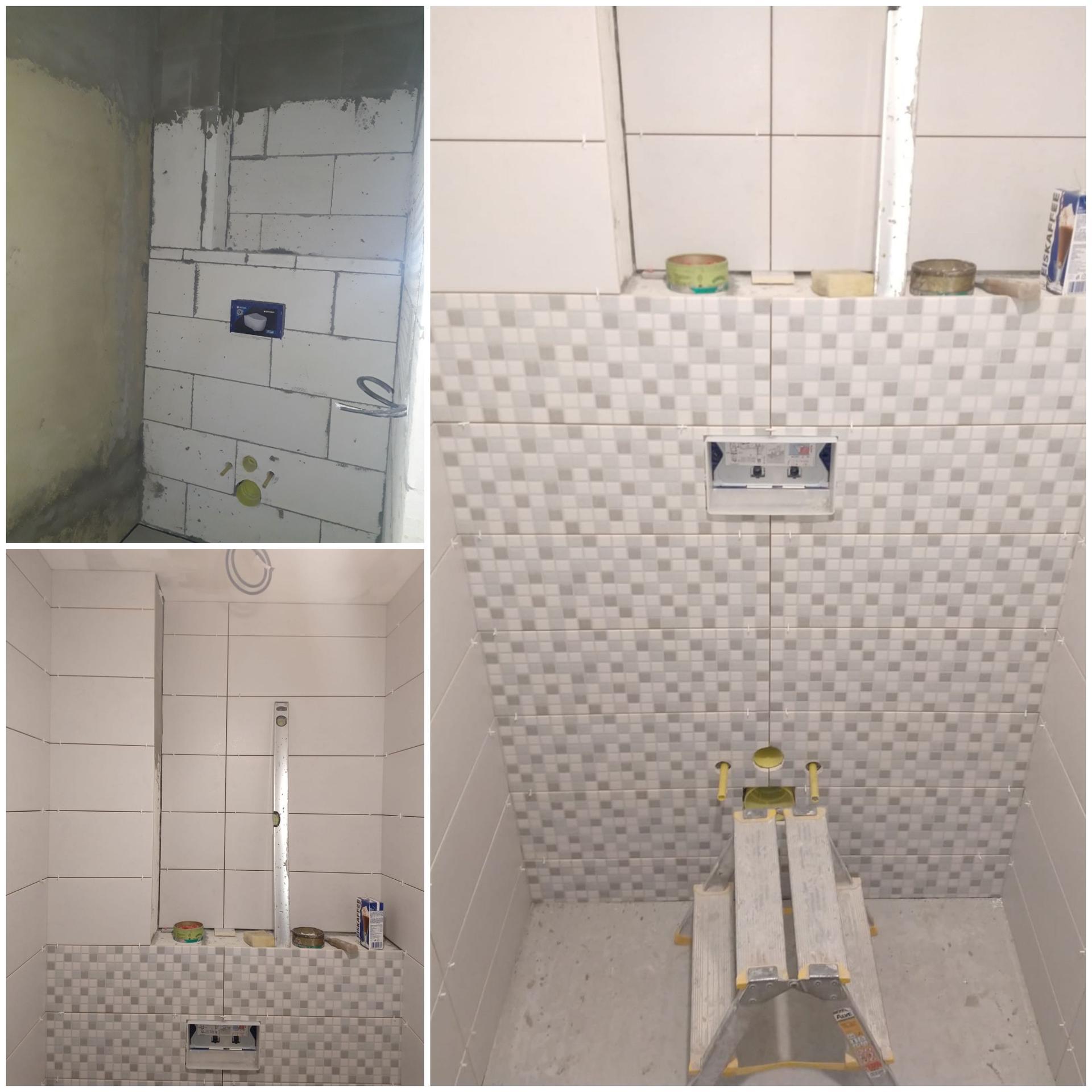 Koupelna přízemí - WC - před a v průběhu obkladačských prací.