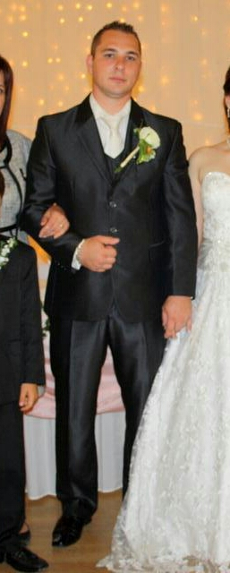 Slim svadobný oblek lesklý pásik 52/170 +košeľa/kr - Obrázok č. 3