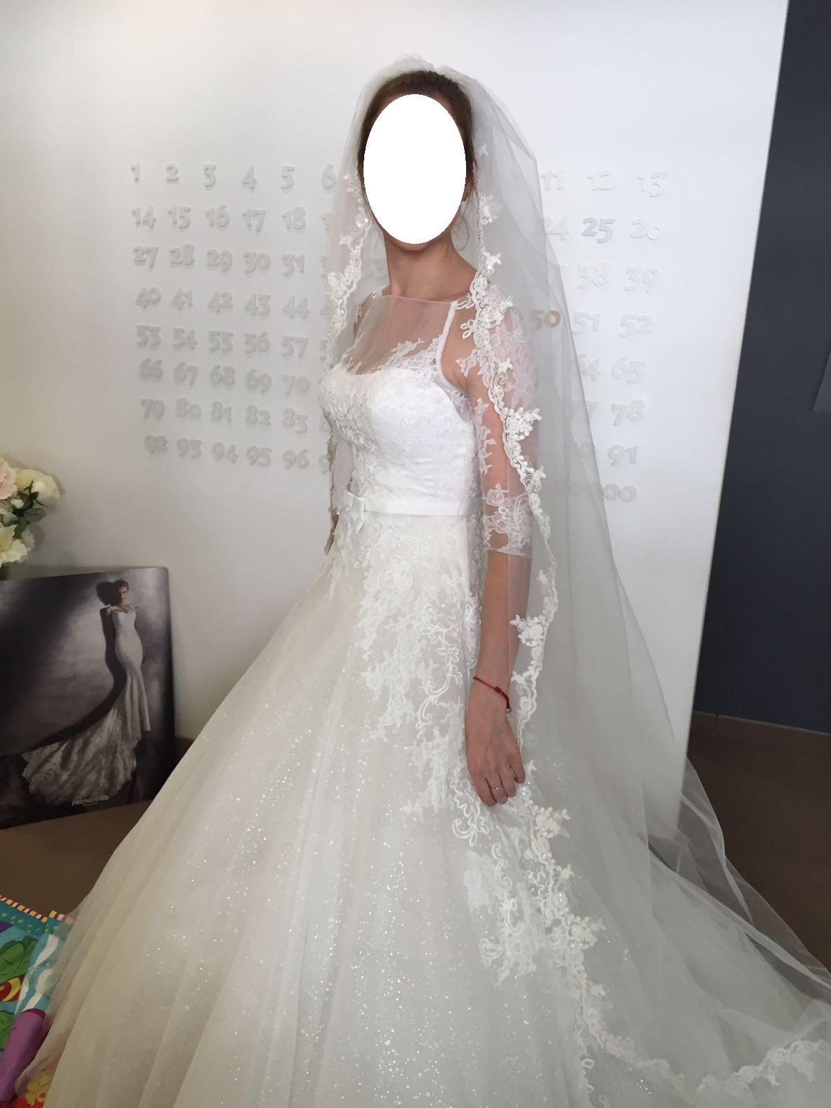 Svadobné šaty s čipkou, vlečkou, 3/4 rukávmi - Obrázok č. 1