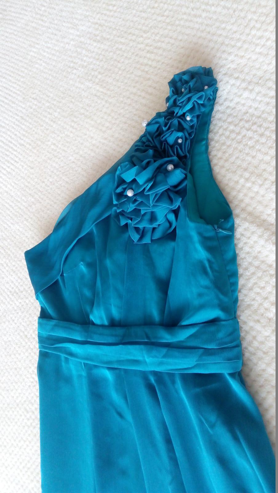 tyrkysové šaty, dlhé - Obrázok č. 1