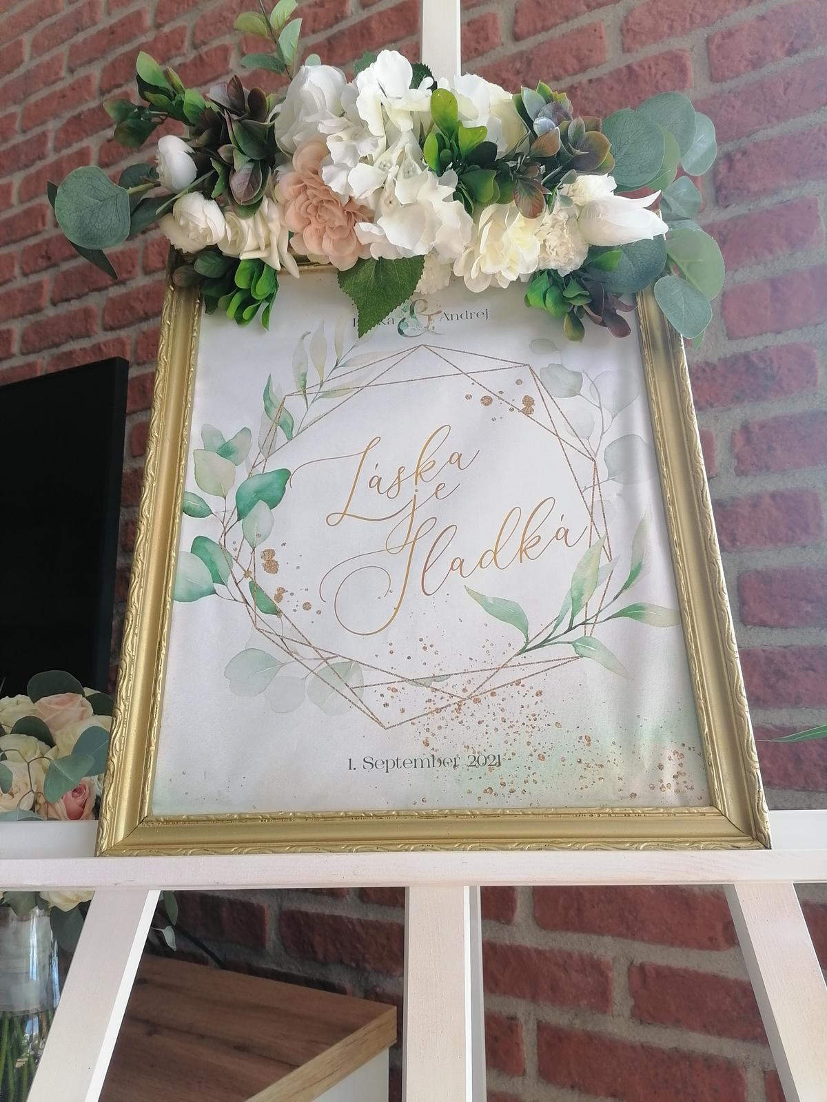 Zlatý rámik na candy bar na svadbu - Obrázok č. 1
