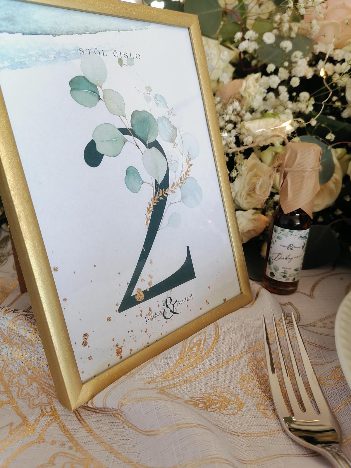 Zlatý rámik na číslovanie stolov na svadbu - Obrázok č. 1