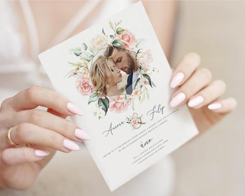 Boho Greenery Rose svadobné oznámenia - Obrázok č. 2