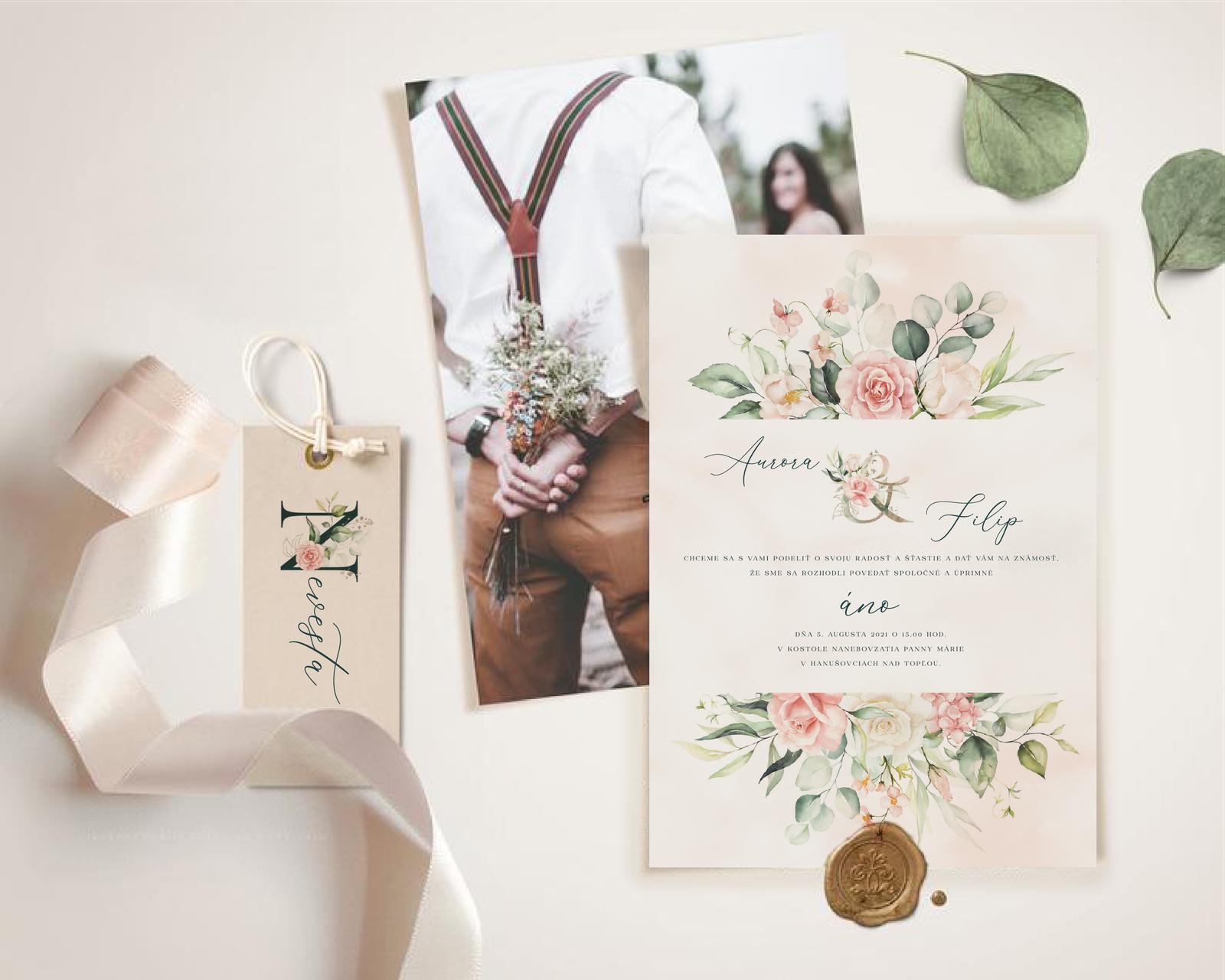 Boho Greenery Rose svadobné oznámenia - Obrázok č. 4