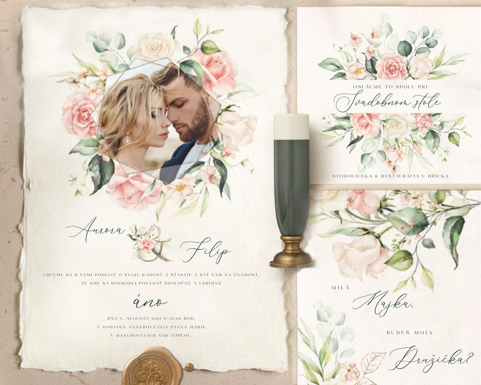 Boho Greenery Rose svadobné oznámenia - Obrázok č. 1