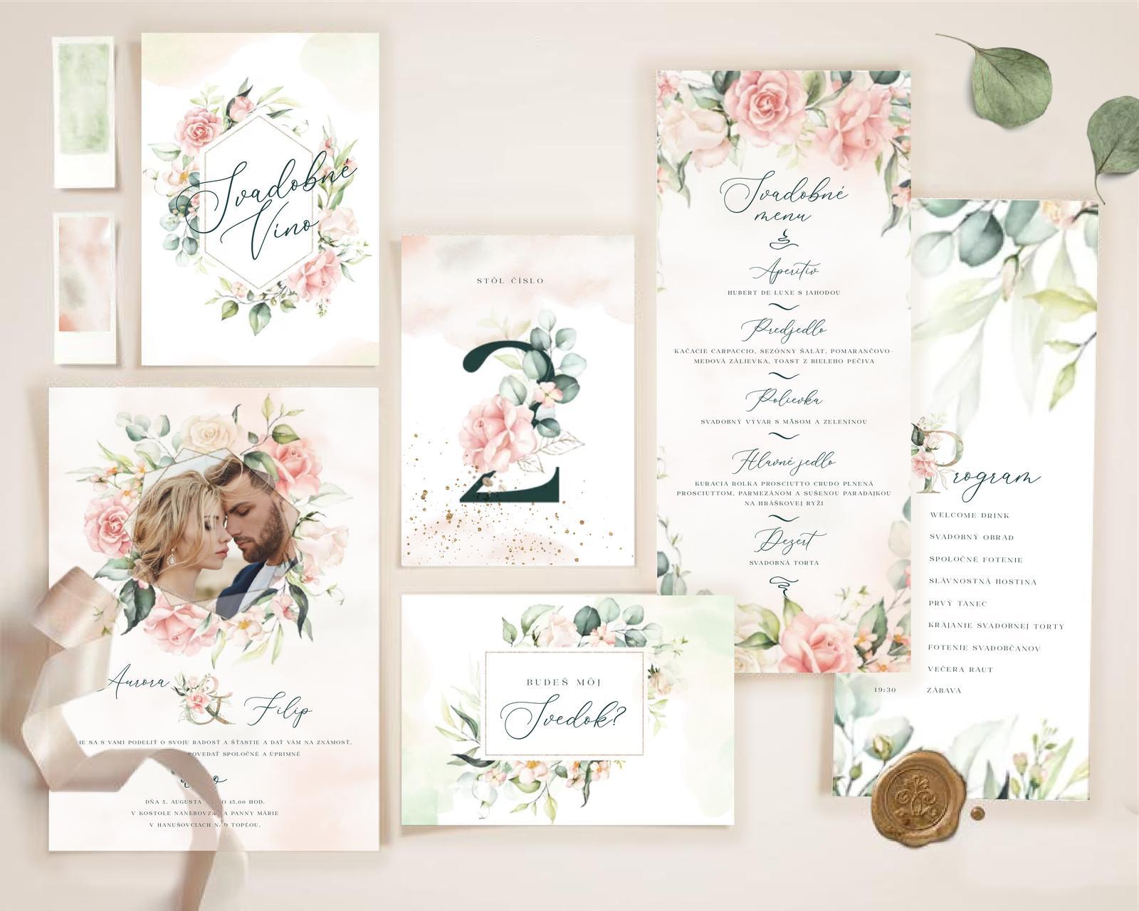 Boho Greenery Rose svadobné oznámenia - Obrázok č. 3