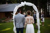Dvoudílné krajkové svatební šaty, 36