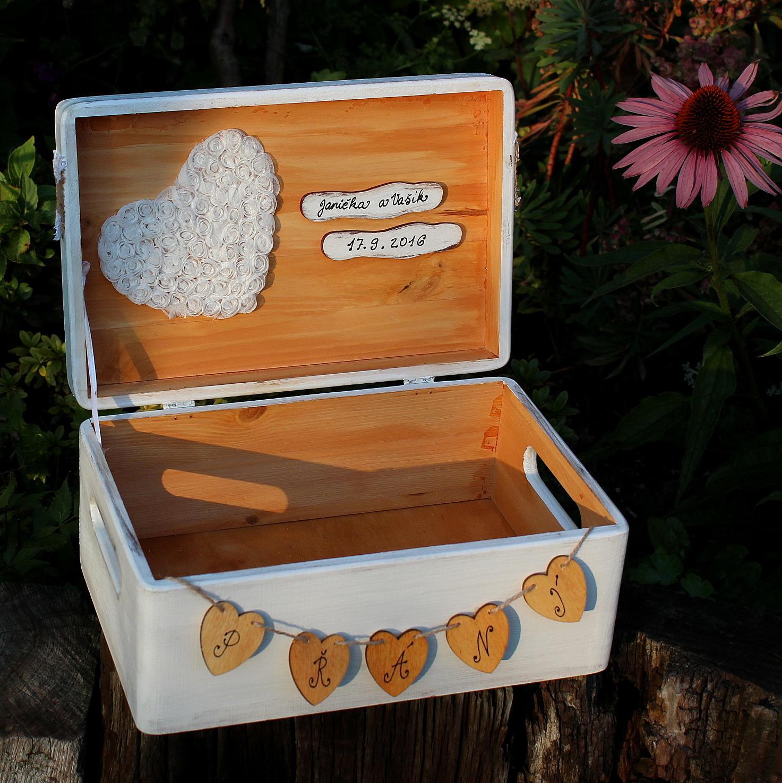 Dřevěná krabička na SVATEBNÍ PŘÁNÍ sněženka - Obrázek č. 1