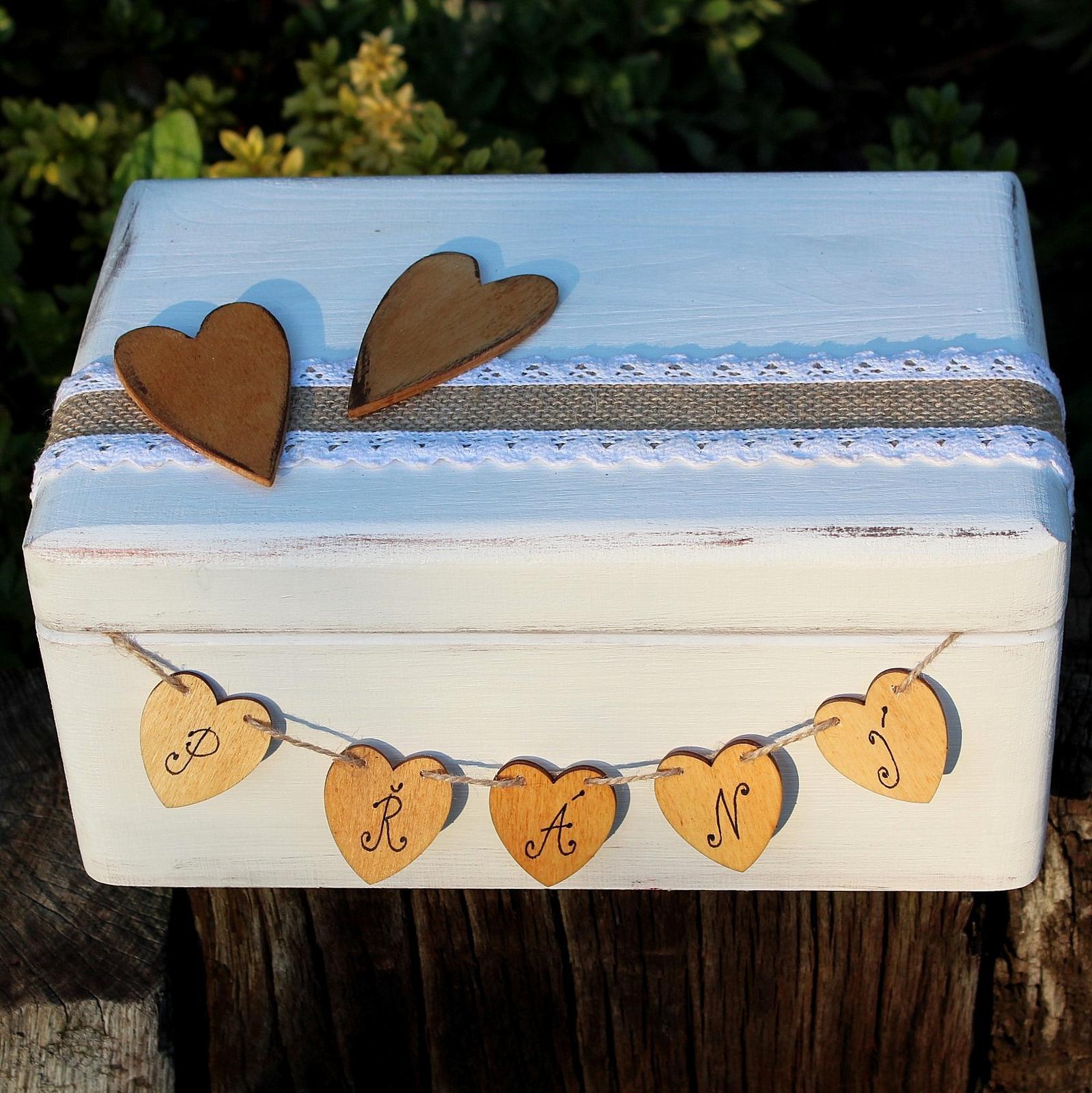 Dřevěná krabička na SVATEBNÍ PŘÁNÍ sněženka - Obrázek č. 2