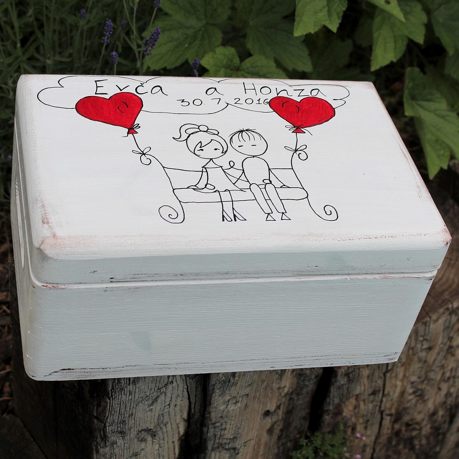 Dřevěná krabička ZAMILOVANÁ LAVIČKA - Obrázek č. 1
