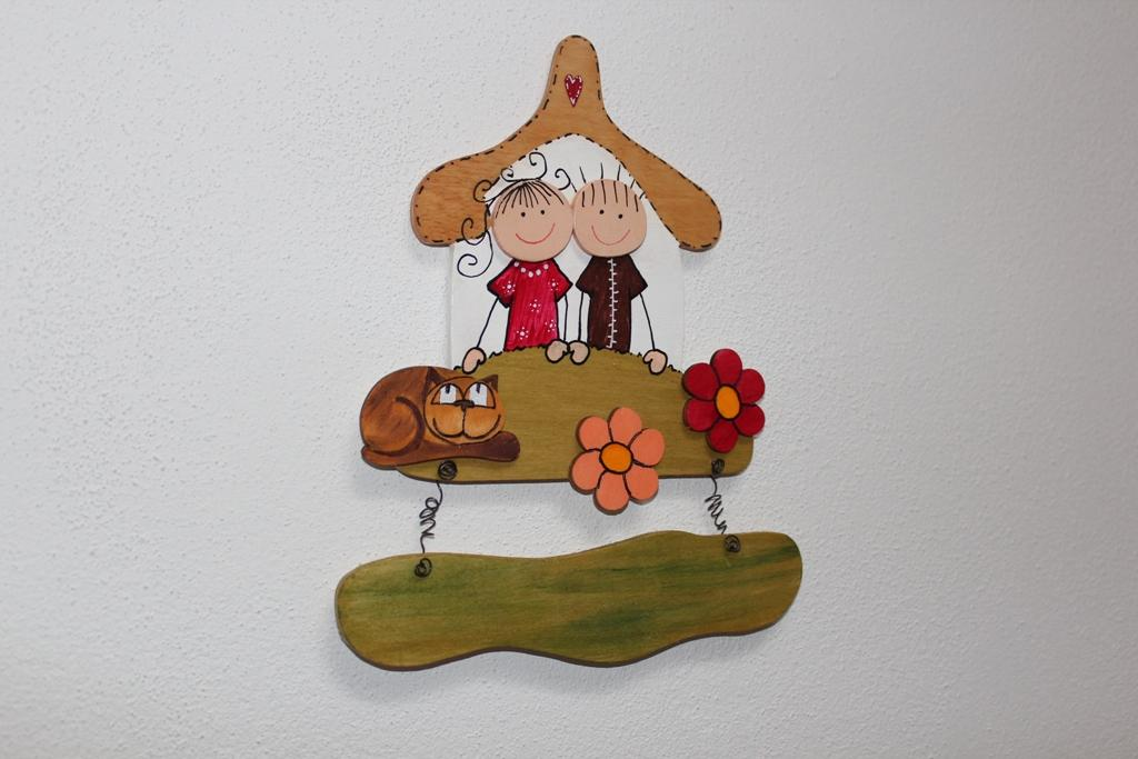 Dřevěná cedulka na dveře ŠŤASTNÁ RODINKA a mourek - Obrázek č. 1