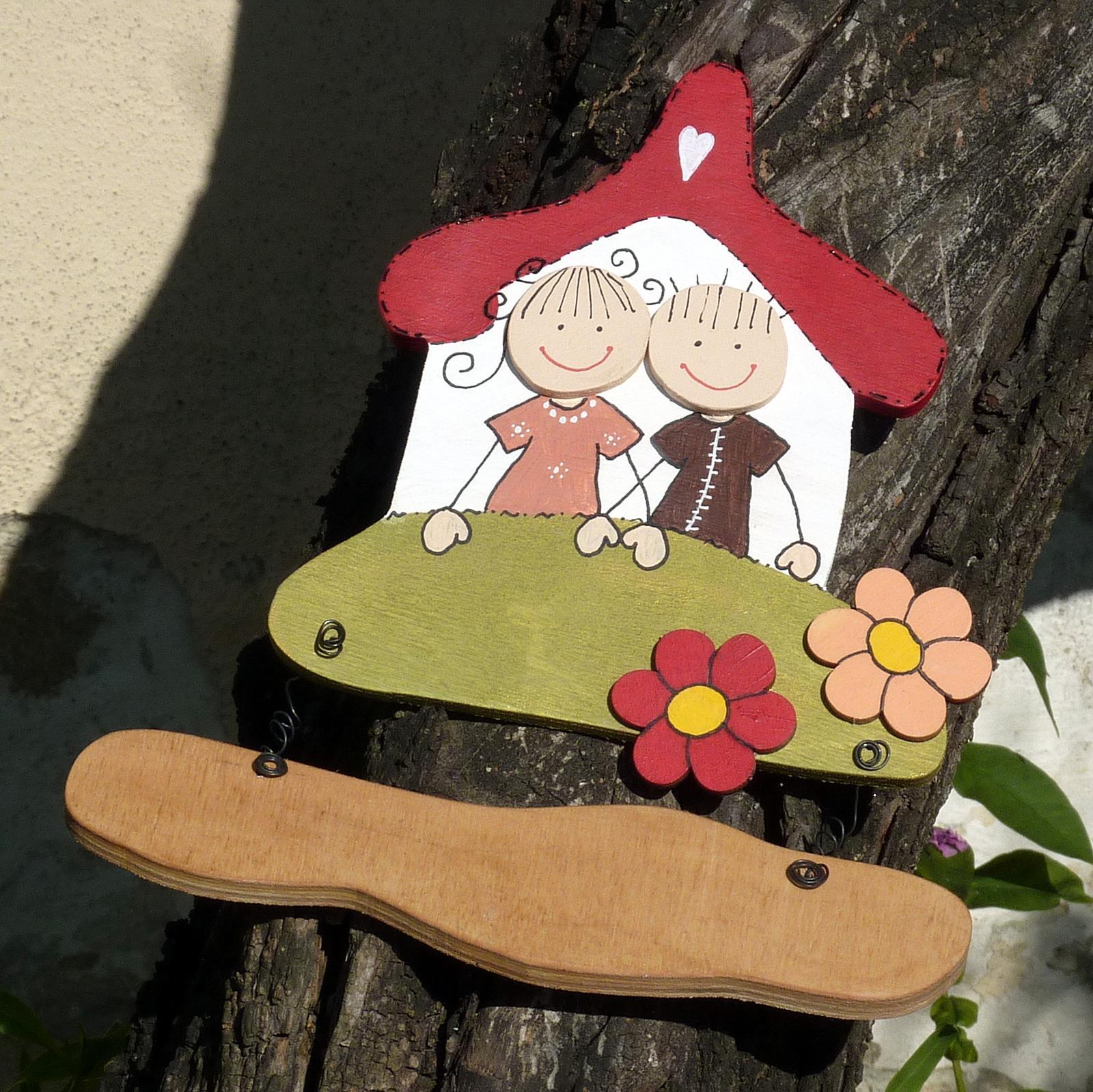 Dřevěná cedulka na dveře ŠŤASTNÁ RODINKA - Obrázek č. 1