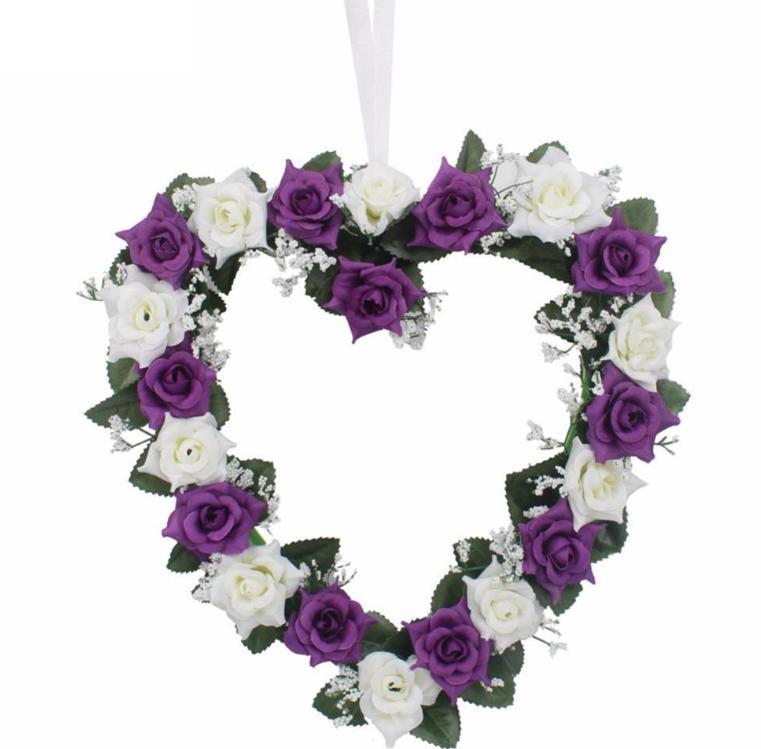 Srdce na stěnu bílo-fialové kytičky - Obrázek č. 1