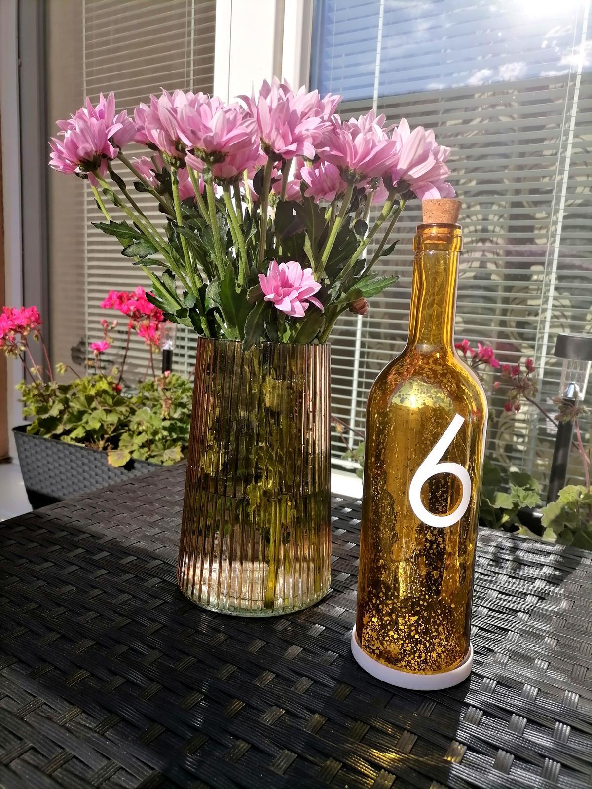 Lampa - Svietiaca Fľaša/zlatá - Obrázok č. 1