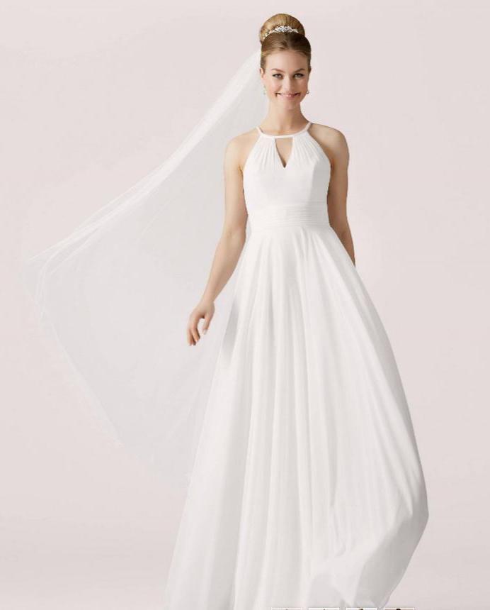 Svatební šaty jednoduché, splývavé, šněrovací - Obrázek č. 1