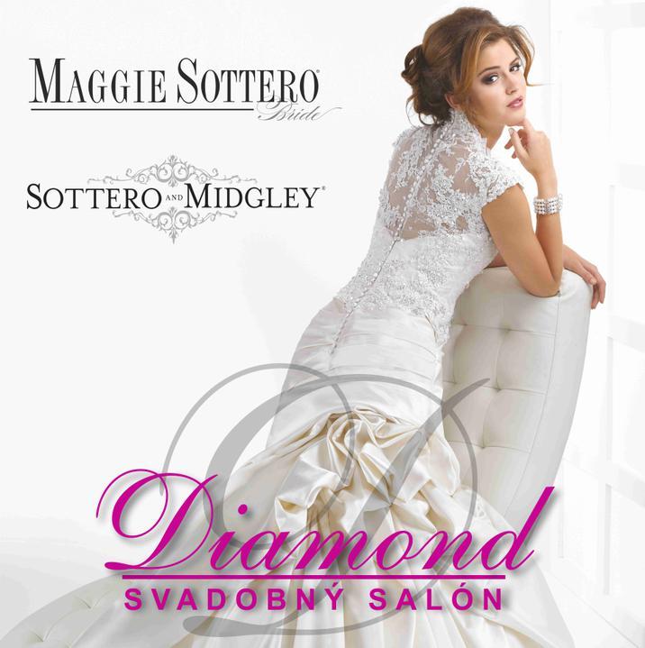 """Svadobný salón DIAMOND - Na Váš veľký deň """"D"""" Vám požičiame svadobné šaty svetoznámych a neprehliadnuteľných značiek MAGGIE SOTTERO a SOTERRO&MIDGLEY."""