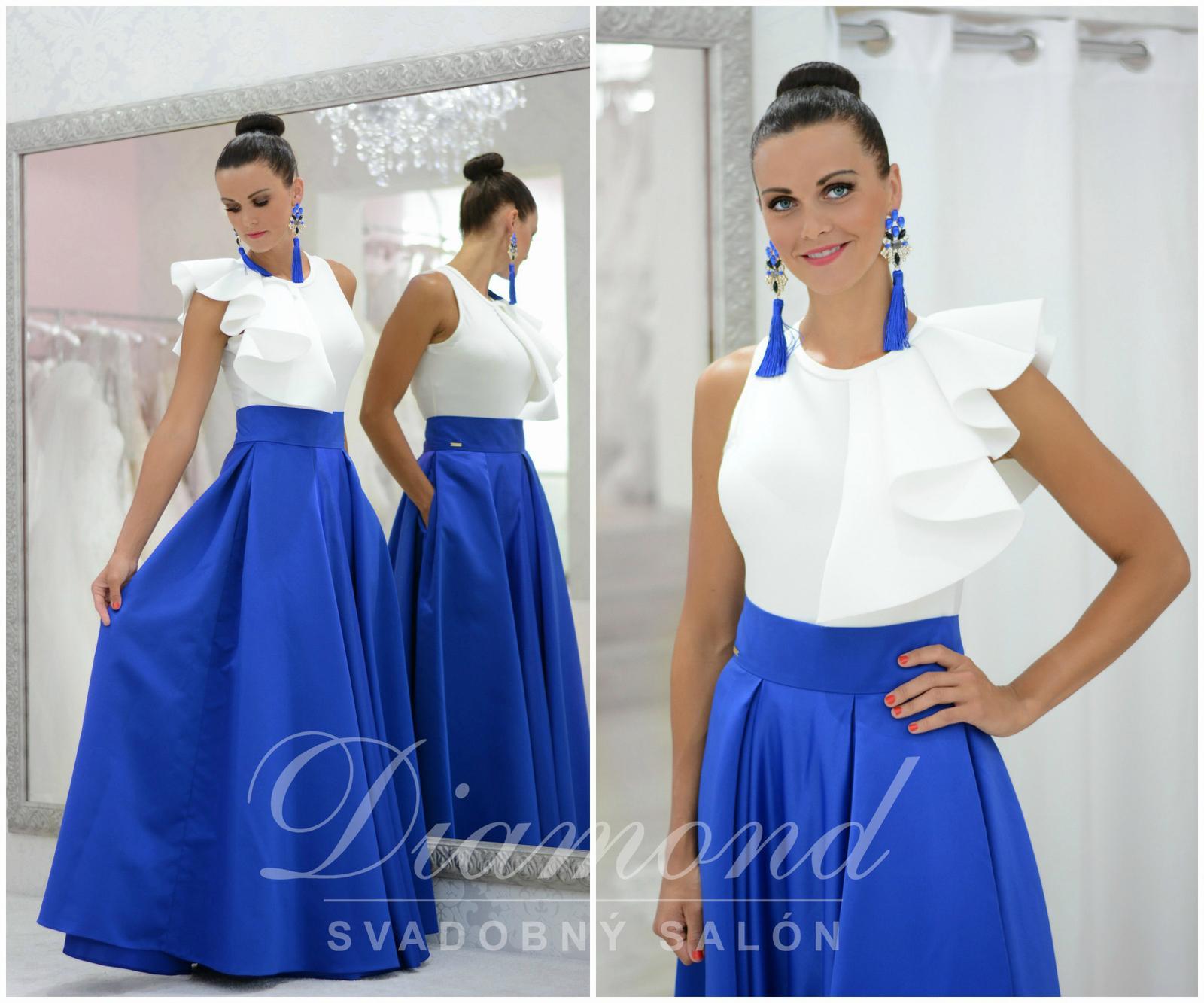 Štýlová saténová kráľovská modrá sukňa - Obrázok č. 1