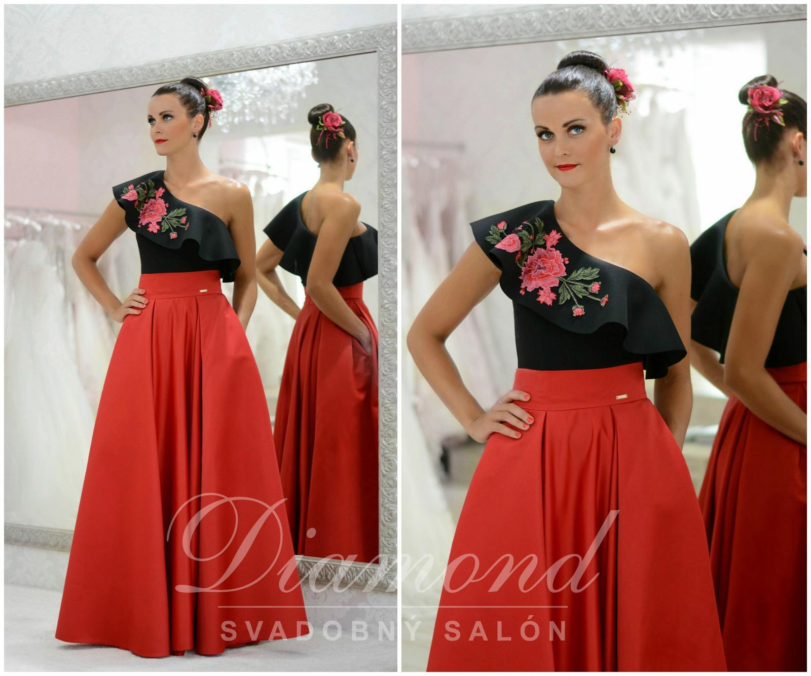 Štýlová saténová červená sukňa - Obrázok č. 1