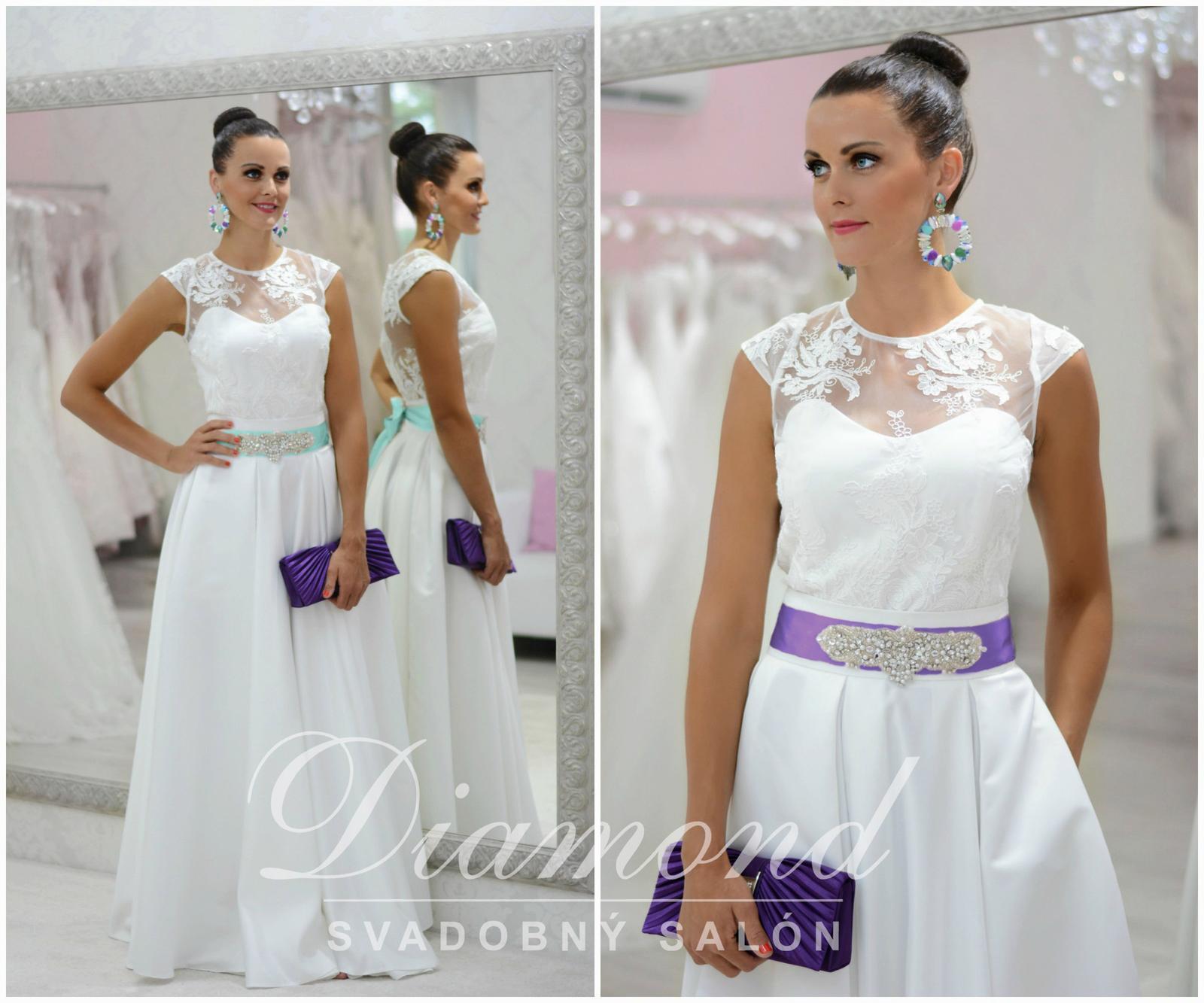 Štýlová saténová biela sukňa - Obrázok č. 1