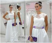 Štýlová saténová biela sukňa, L