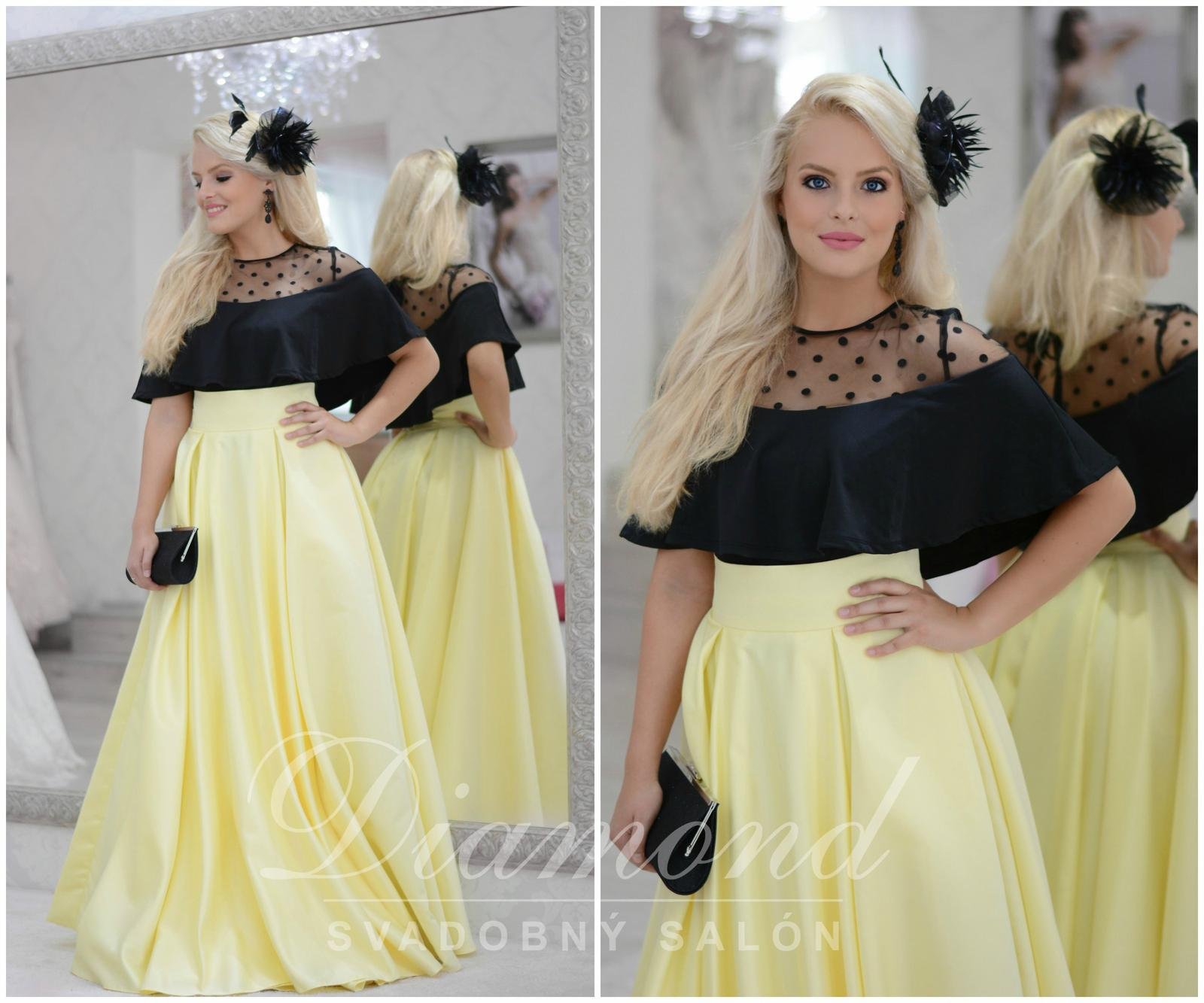 Štýlová saténová žltá sukňa - Obrázok č. 1