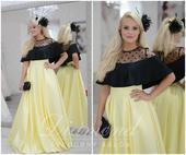 Štýlová saténová žltá sukňa, M