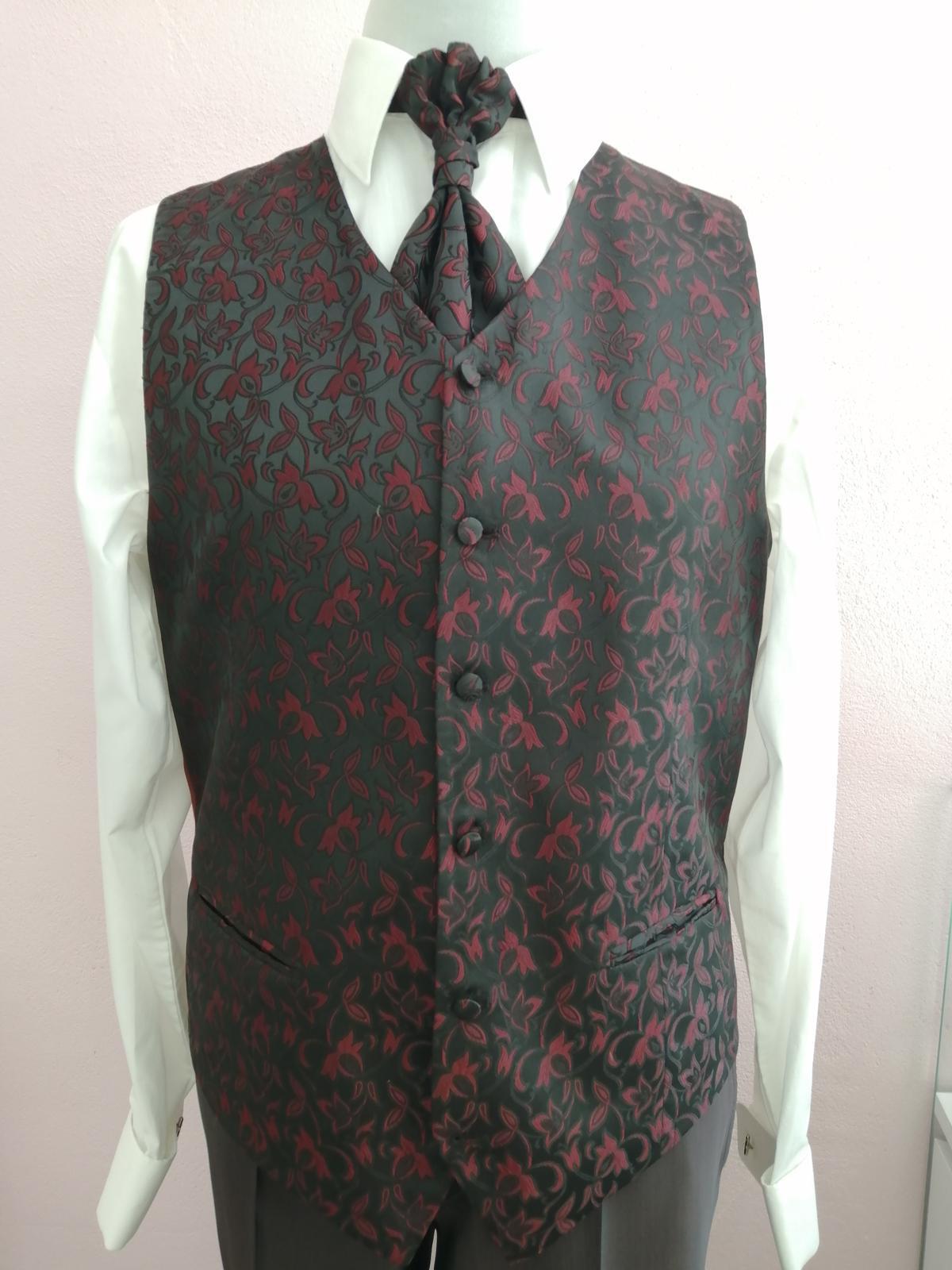 Svadobná vesta - čierno bordová - Wilvorst - Obrázok č. 1