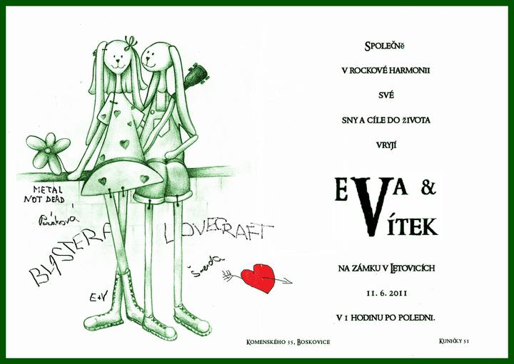 Eva{{_AND_}}Vít - naše oznámení v čisté verzi, originál byl na strukturovaném papíru..samovýroba, figurky kresleny zpěvákem, tatérem a kámošem Jiřinou:) dle našich oblíbených dřevěných originálů...