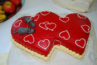 srdiečková torta s myškami