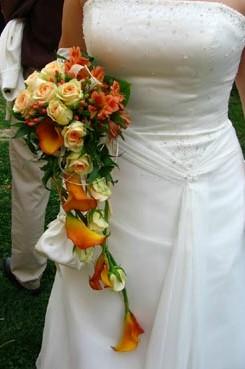 8. 9. 2007 Mája a Romik - tak tahkhle bude vypadat má kytička jen z bílorůžových růží a vínových kalů