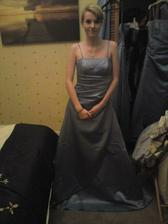 My little sister trying her bridesmaid dress on for the first time