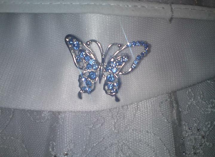 Wedding stuff - brooch to tie in with blue butterfly theme on flowergirl dress