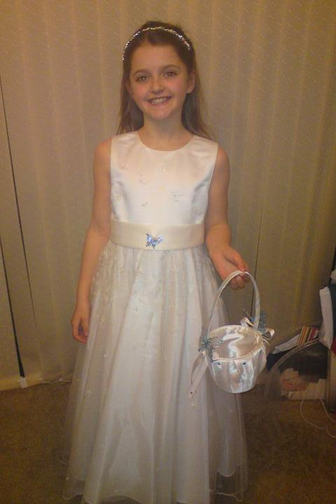 Wedding stuff - trying on dress with hairband and basket