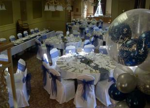 our venue with chair covers (ours will be a lighter blue)