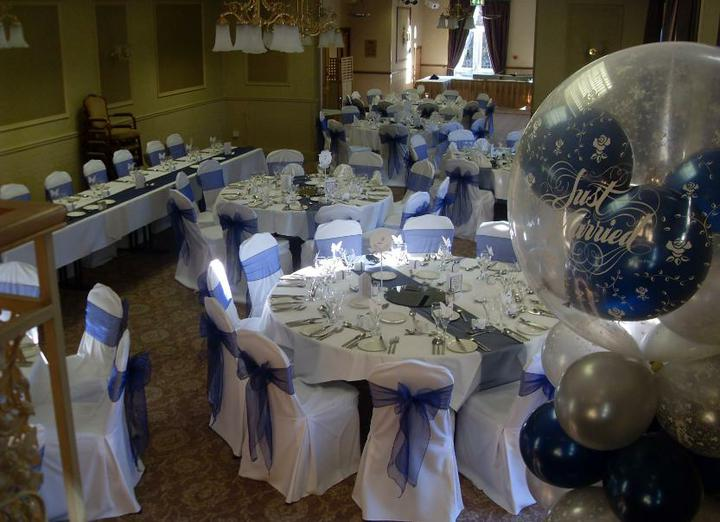 Wedding stuff - our venue with chair covers (ours will be a lighter blue)
