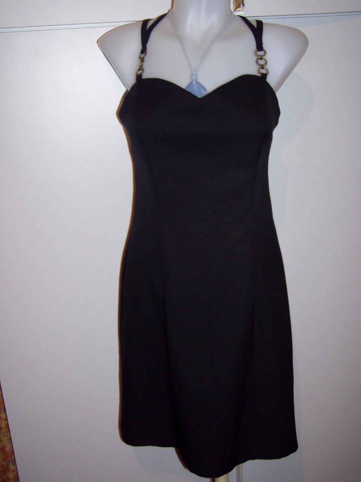 čierne koktejlové šaty na prekrížené ramienka veľ, - Obrázok č. 2