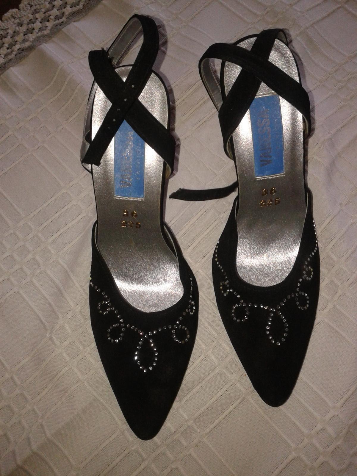 čierne spoloč.topánky s kamienkami v. 36 - Obrázok č. 1
