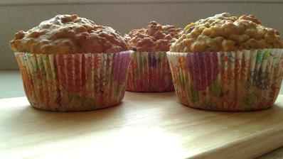 Muffiny s vločkami a ovocným pyré