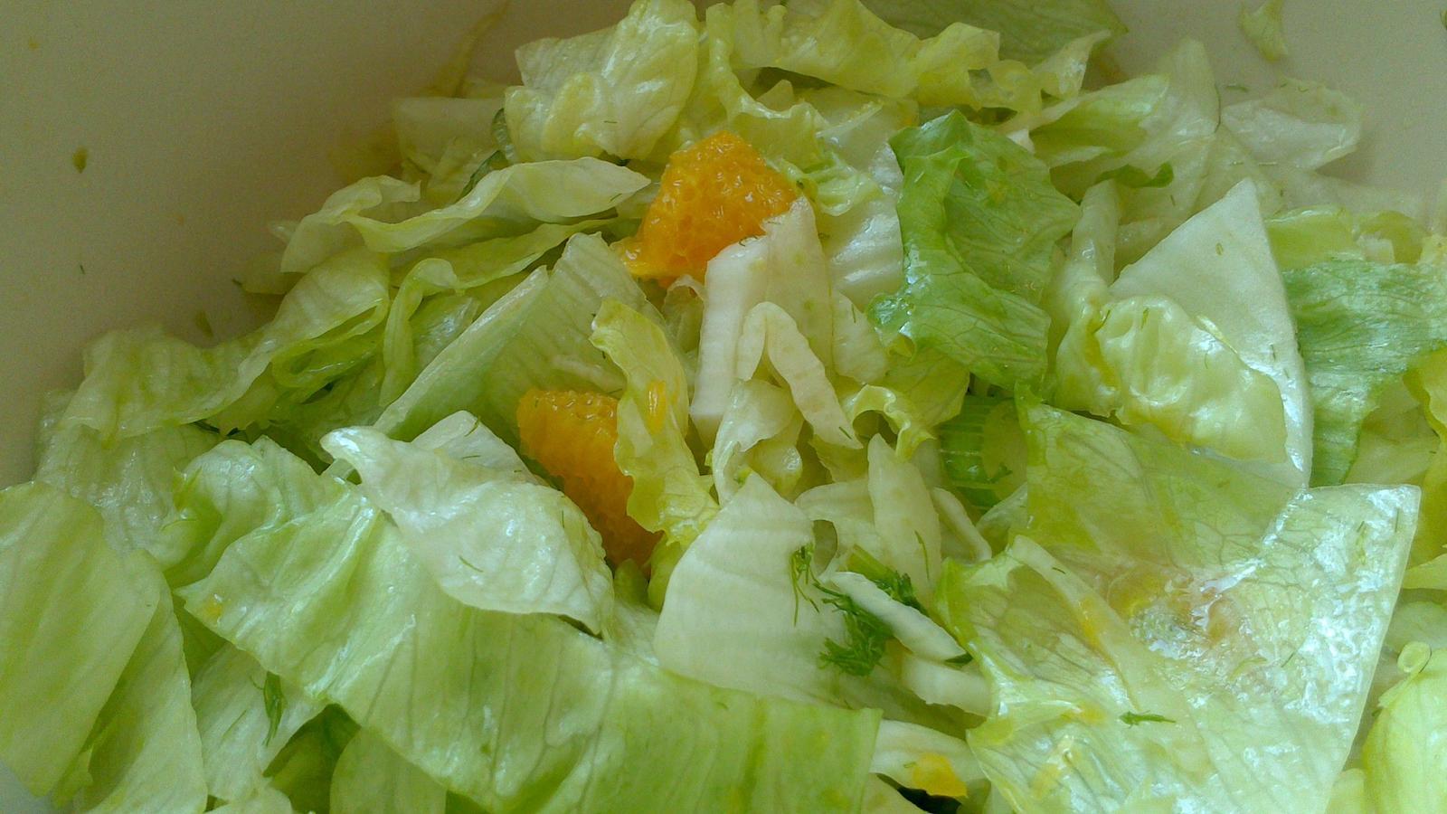 A občas i vařím... - Jednoduchý salát - fenykl, pomeranč, ledový salát, olivový olej
