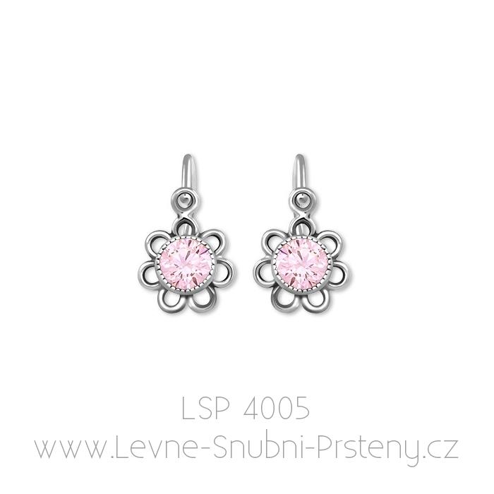 Dětské náušničky LSP 4005, bílé zlato, růžový kámen - Obrázek č. 1