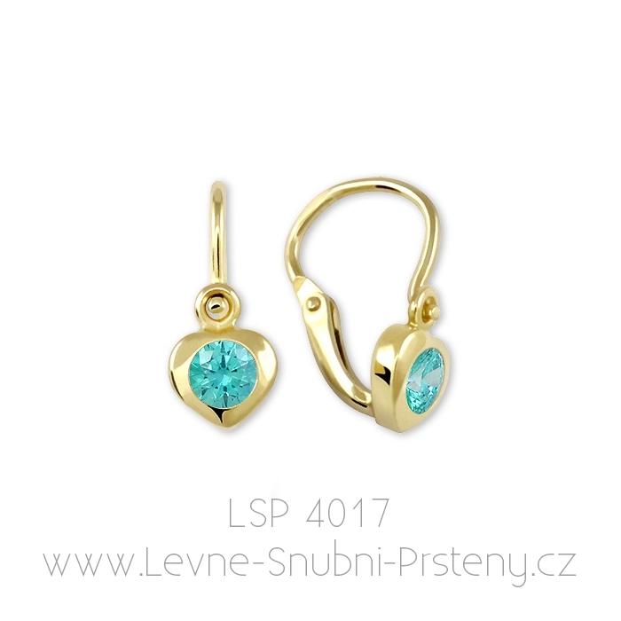 Dětské náušničky LSP 4017, žluté zlato, modrozelený kamínek - Obrázek č. 1