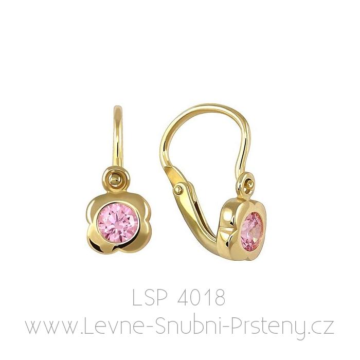 Dětské náušničky LSP 4018, žluté zlato, růžový kamínek - Obrázek č. 1