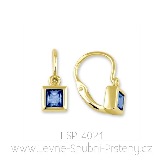 Dětské náušničky LSP 4021, žluté zlato, tmavě modrý kamínek - Obrázek č. 1