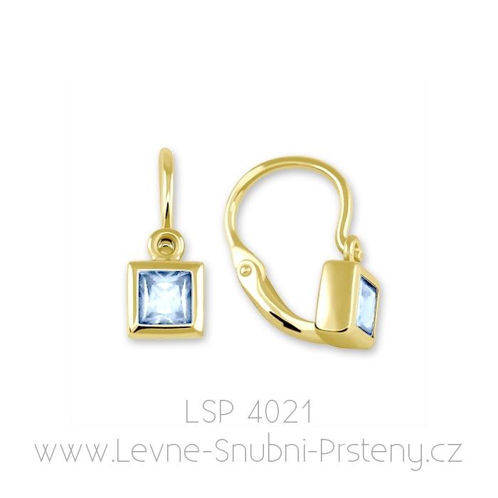 Dětské náušničky LSP 4021, žluté zlato, světle modrý kamínek - Obrázek č. 1