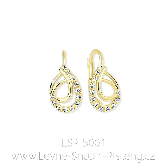 Dámské náušnice LSP 5001, žluté zlato, bílé kamínky - Obrázek č. 1