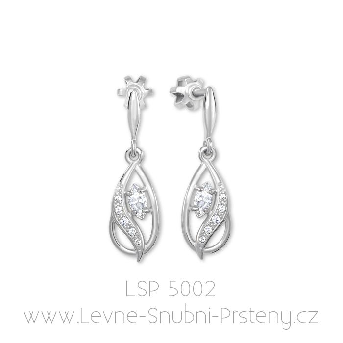 Dámské náušnice LSP 5002, bílé zlato, bílé kamínky - Obrázek č. 1