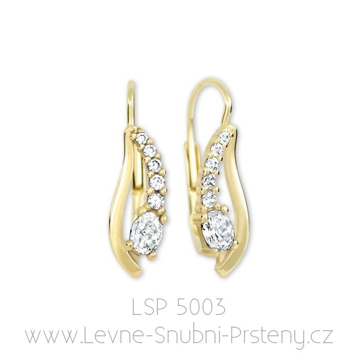 Dámské náušnice LSP 5003, žluté zlato, bílé kamínky - Obrázek č. 1