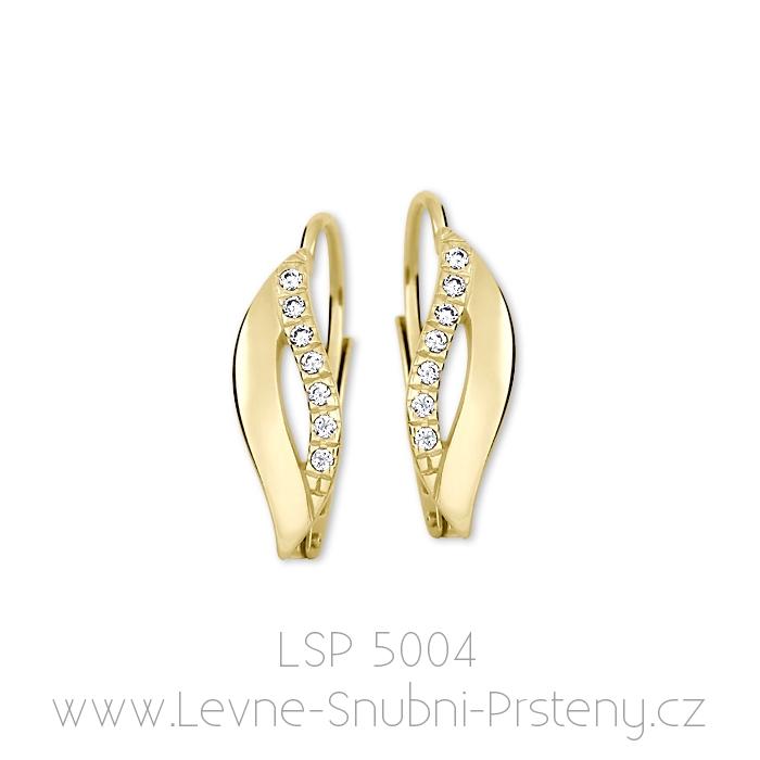 Dámské náušnice LSP 5004, žluté zlato, bílé kamínky - Obrázek č. 1